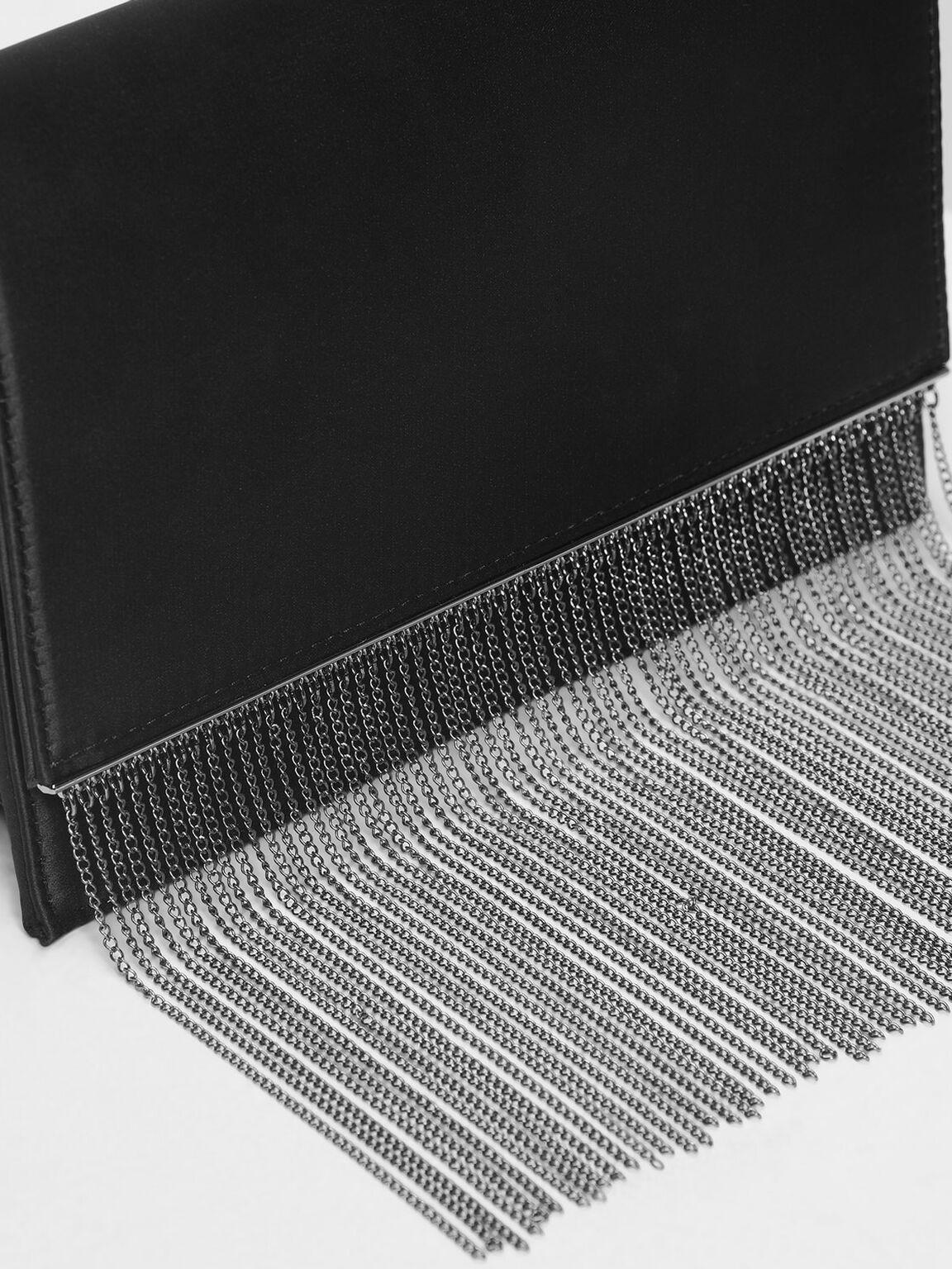 Chain Fringe Detail Clutch, Black, hi-res