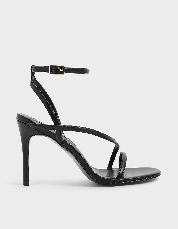 Black Strappy Stiletto Heel Sandals