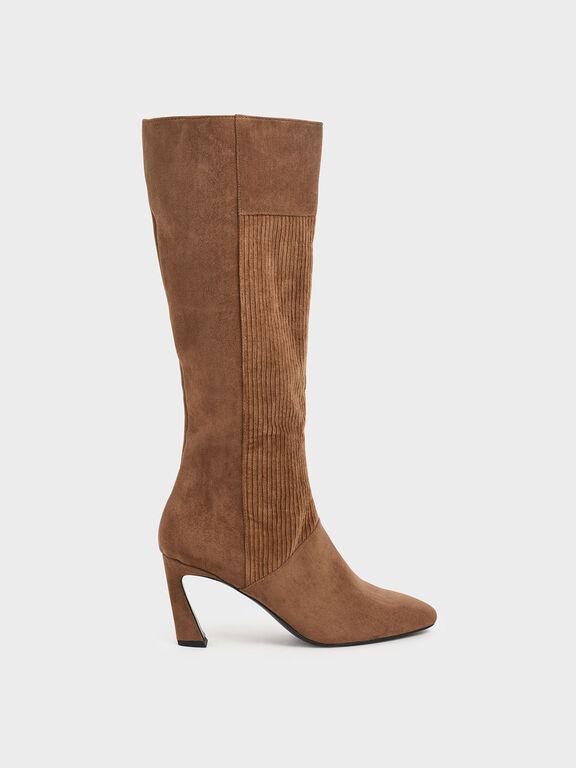 Corduroy Sculptural Heel Knee High Boots, Mustard