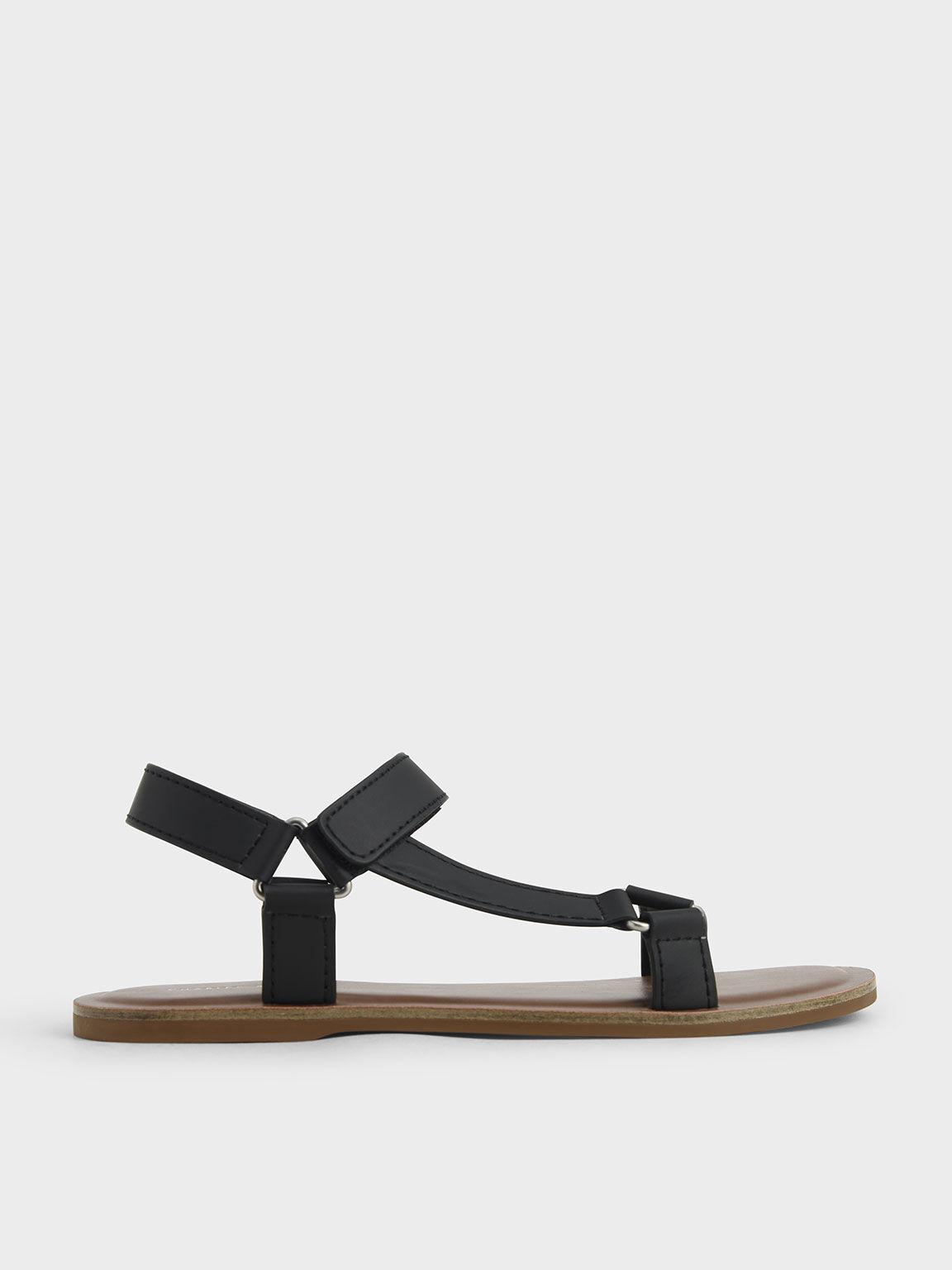 Asymmetric Strap Sandals, Black, hi-res