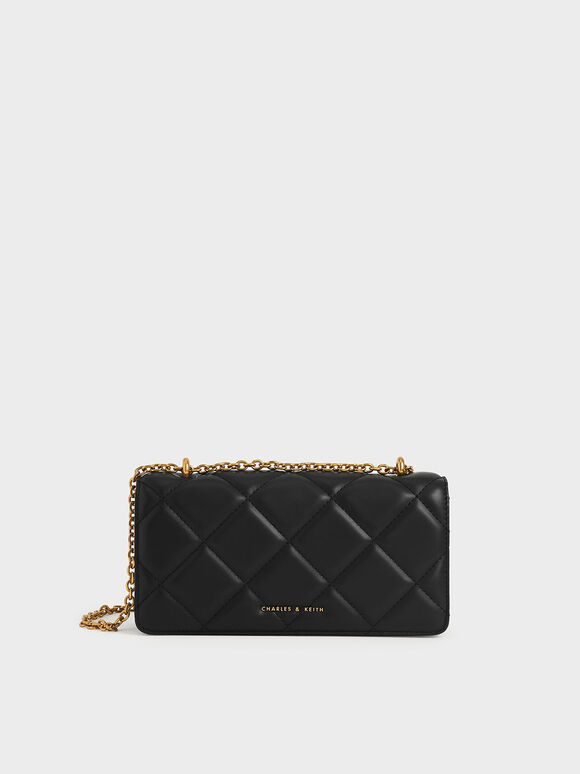 Chain Handle Quilted Long Wallet, Black, hi-res