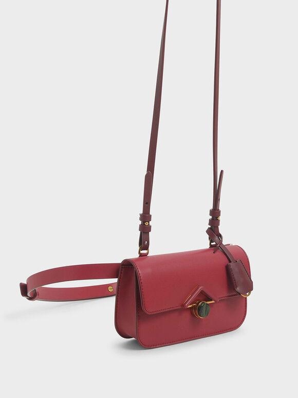 Stone-Embellished Crossbody Bag, Rose, hi-res