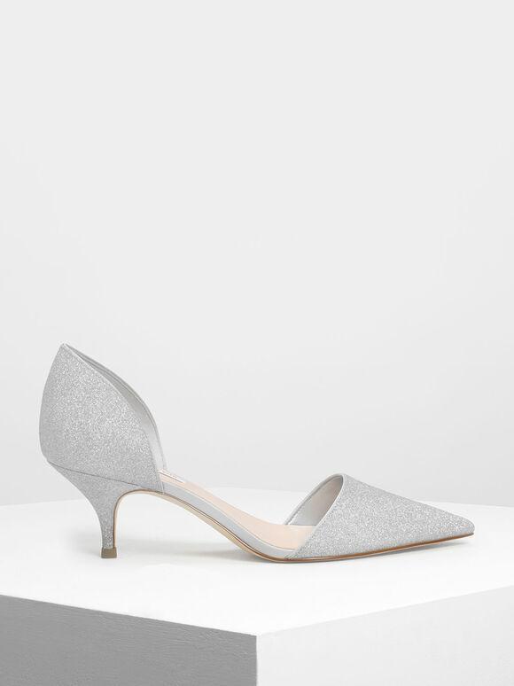 D'Orsay Glitter Fabric Kitten Heel Pumps, Silver, hi-res