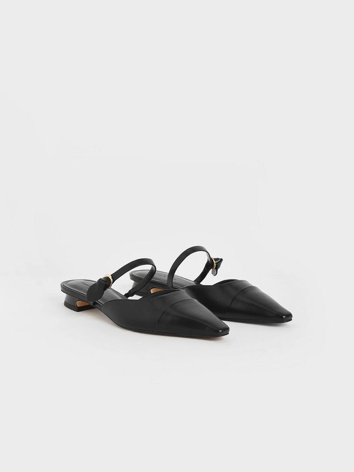 Mary Jane Strap Flat Mules, Black, hi-res