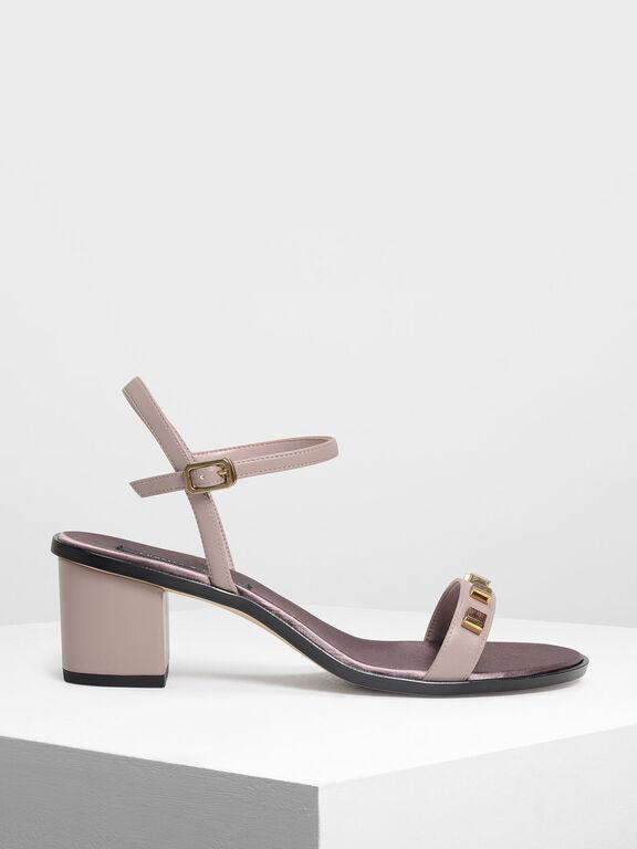 Embellished Heeled Sandals, Nude