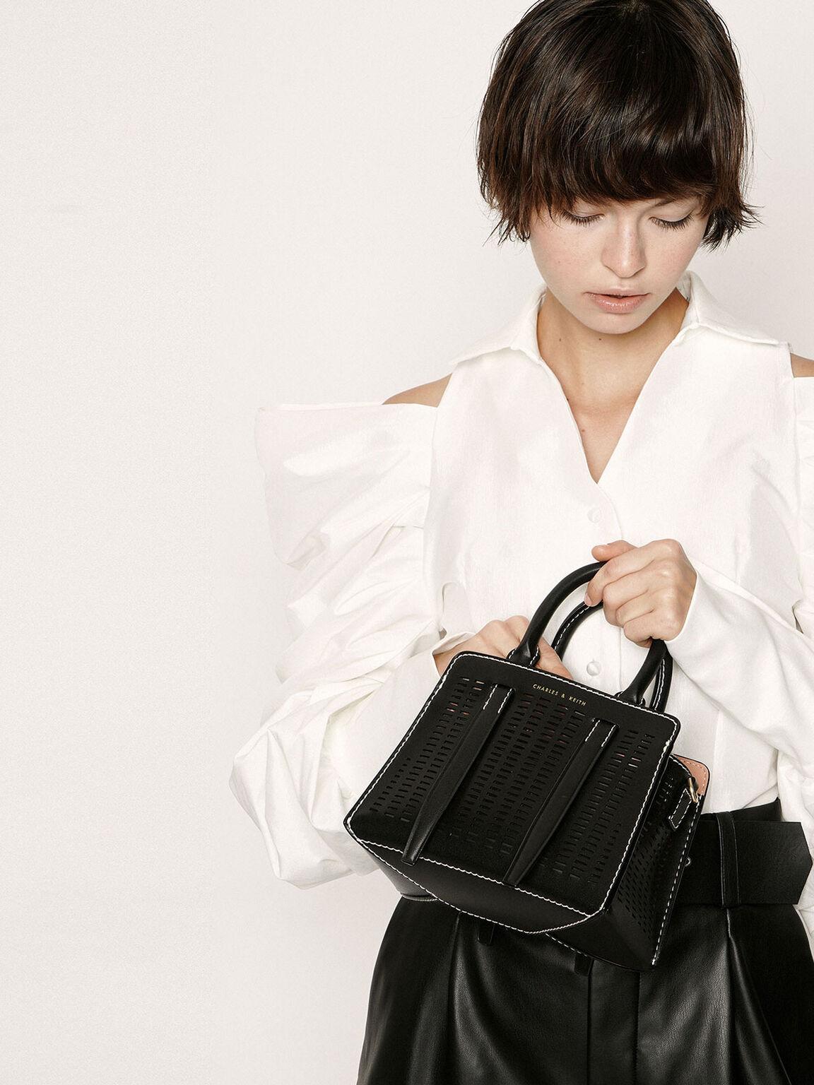 雕空感中型手提包, 黑色, hi-res
