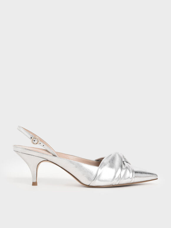 Metallic Knotted Slingback Pumps, Silver, hi-res