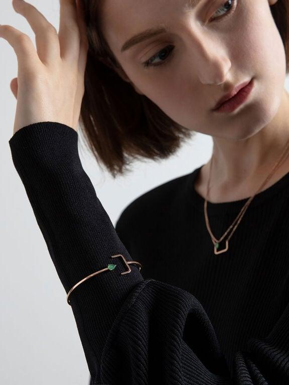 Green Agate Stone Cuff Bracelet, Rose Gold