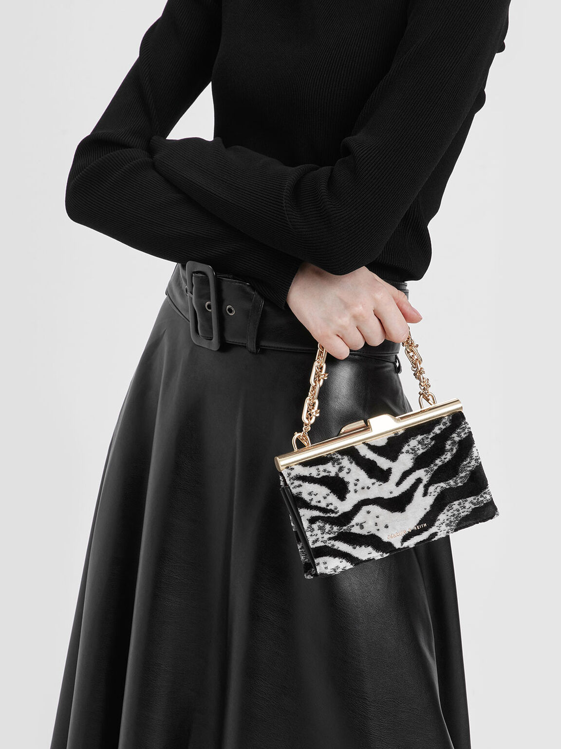 Boxy Velvet White Tiger Print Chunky Chain Clutch, Multi, hi-res