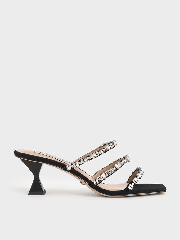 Canvas Gem-Embellished Mules, Black, hi-res