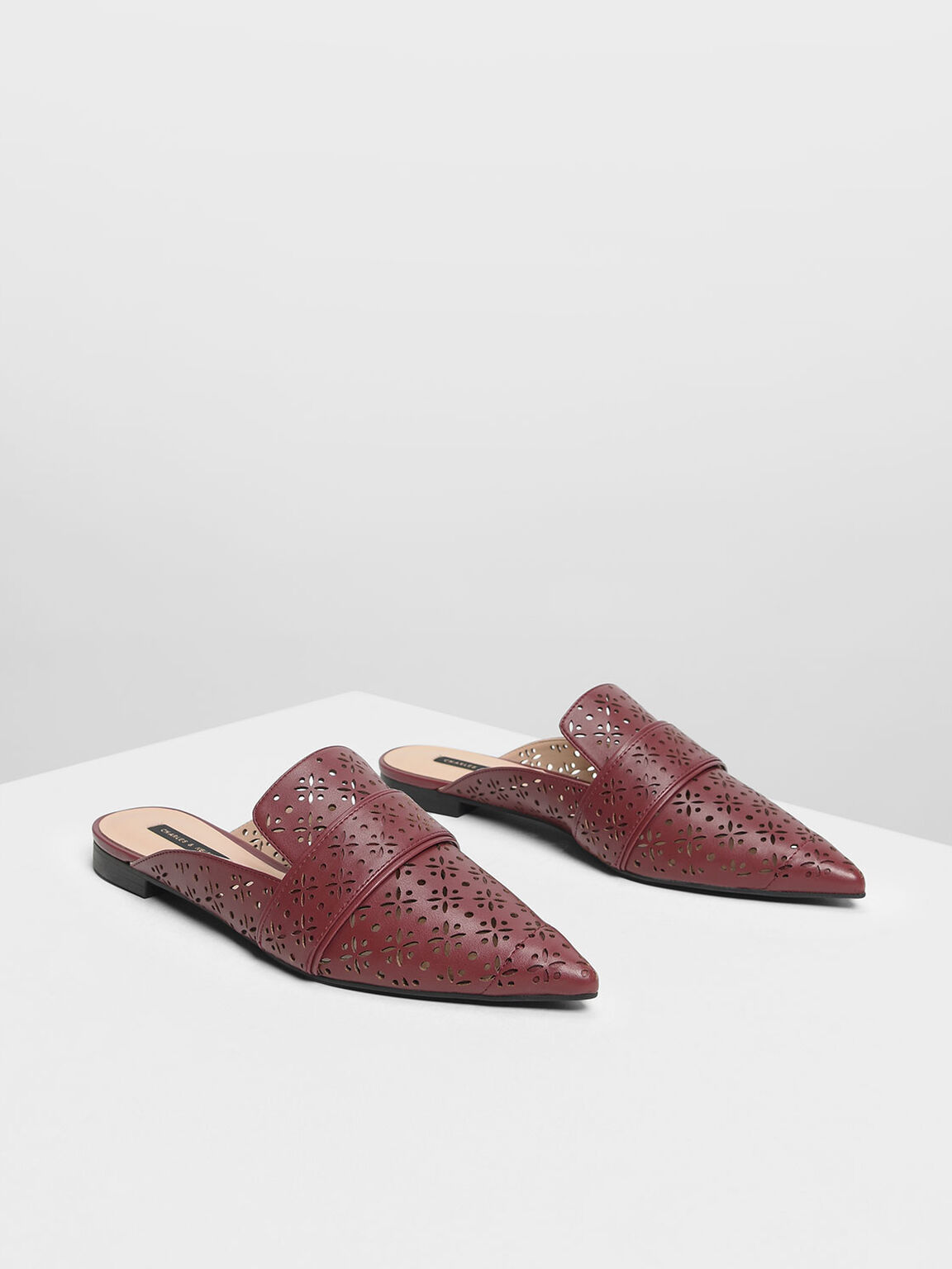 Motif Pointed Toe Mules, Burgundy, hi-res