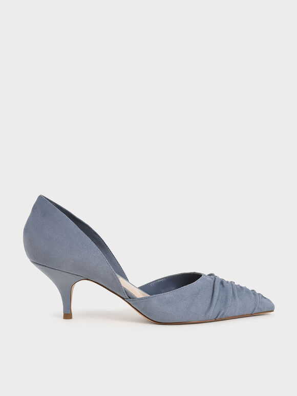 Textured Ruched D'Orsay Pumps, Blue, hi-res
