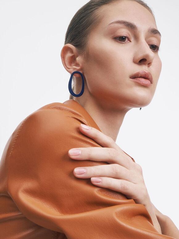 Mismatched Acetate Stud Earrings, Blue, hi-res