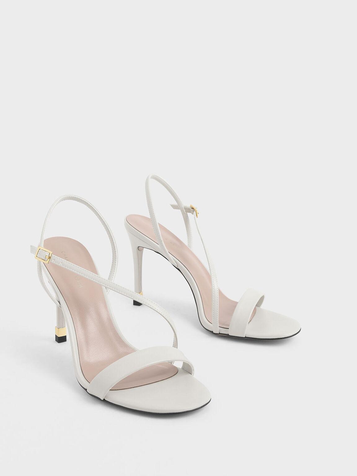 Asymmetric Strap Slingback Heels, Chalk, hi-res