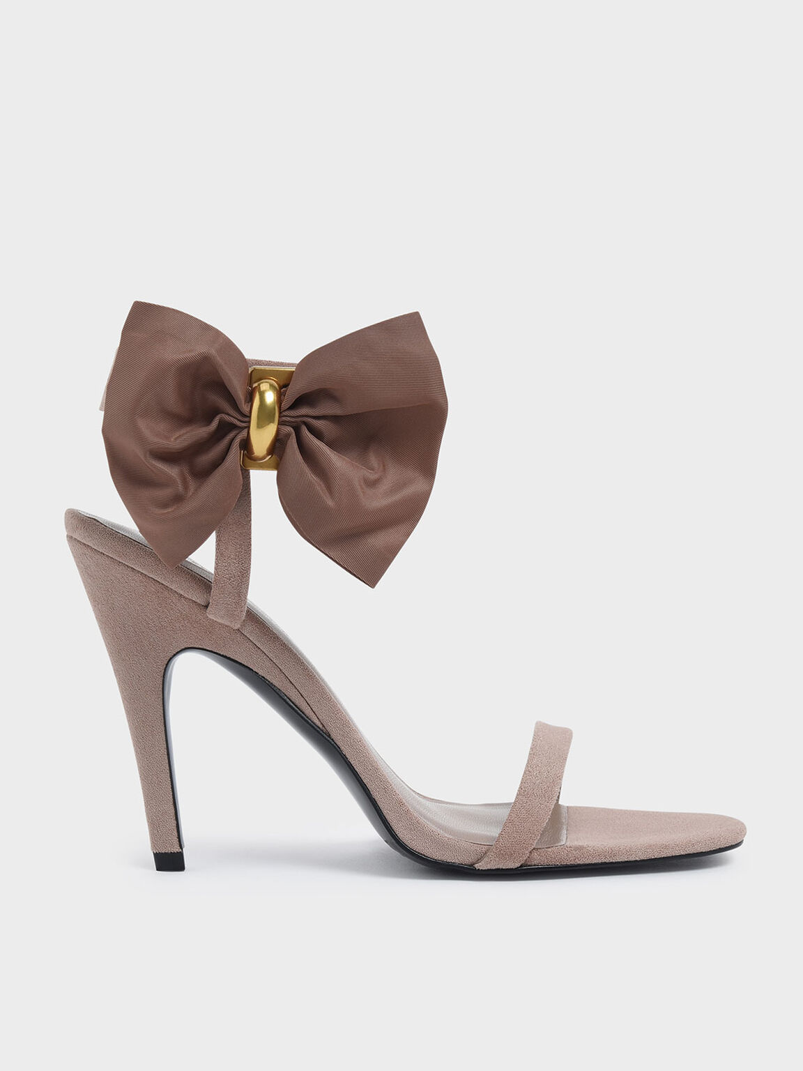 Oversized Bow Open Toe Heeled Sandals, Nude, hi-res