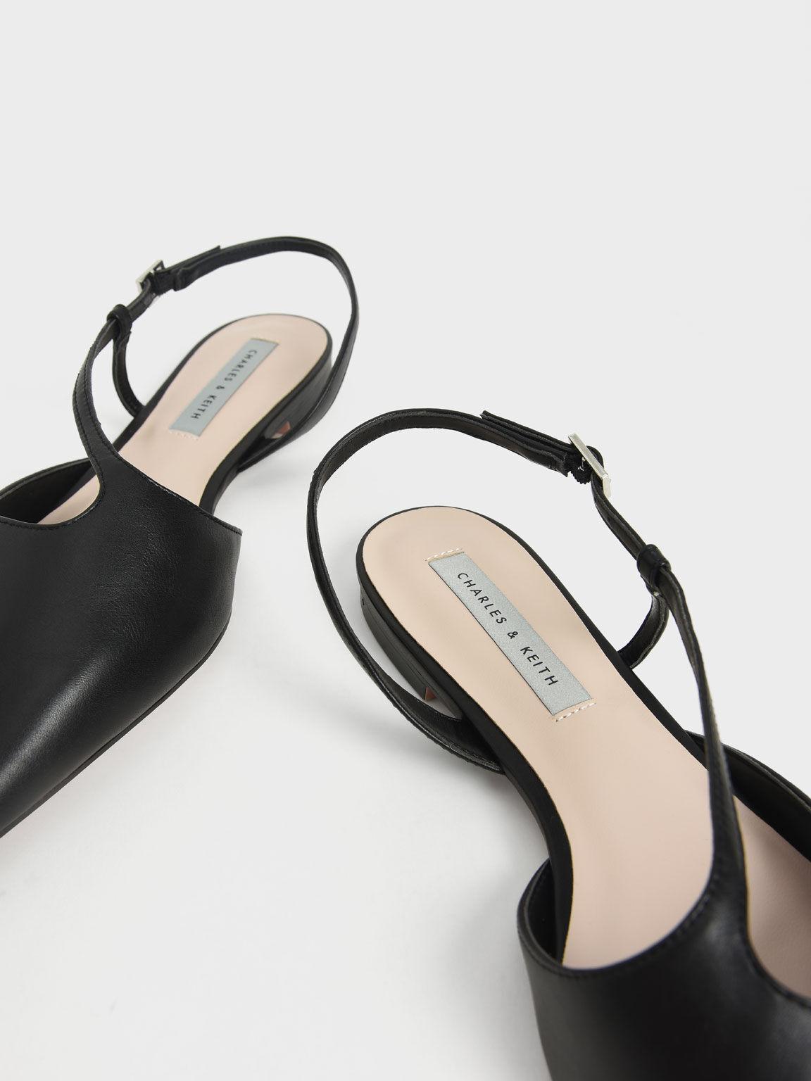 Pointed Toe Asymmetric Strap Ballerina Flats, Black, hi-res