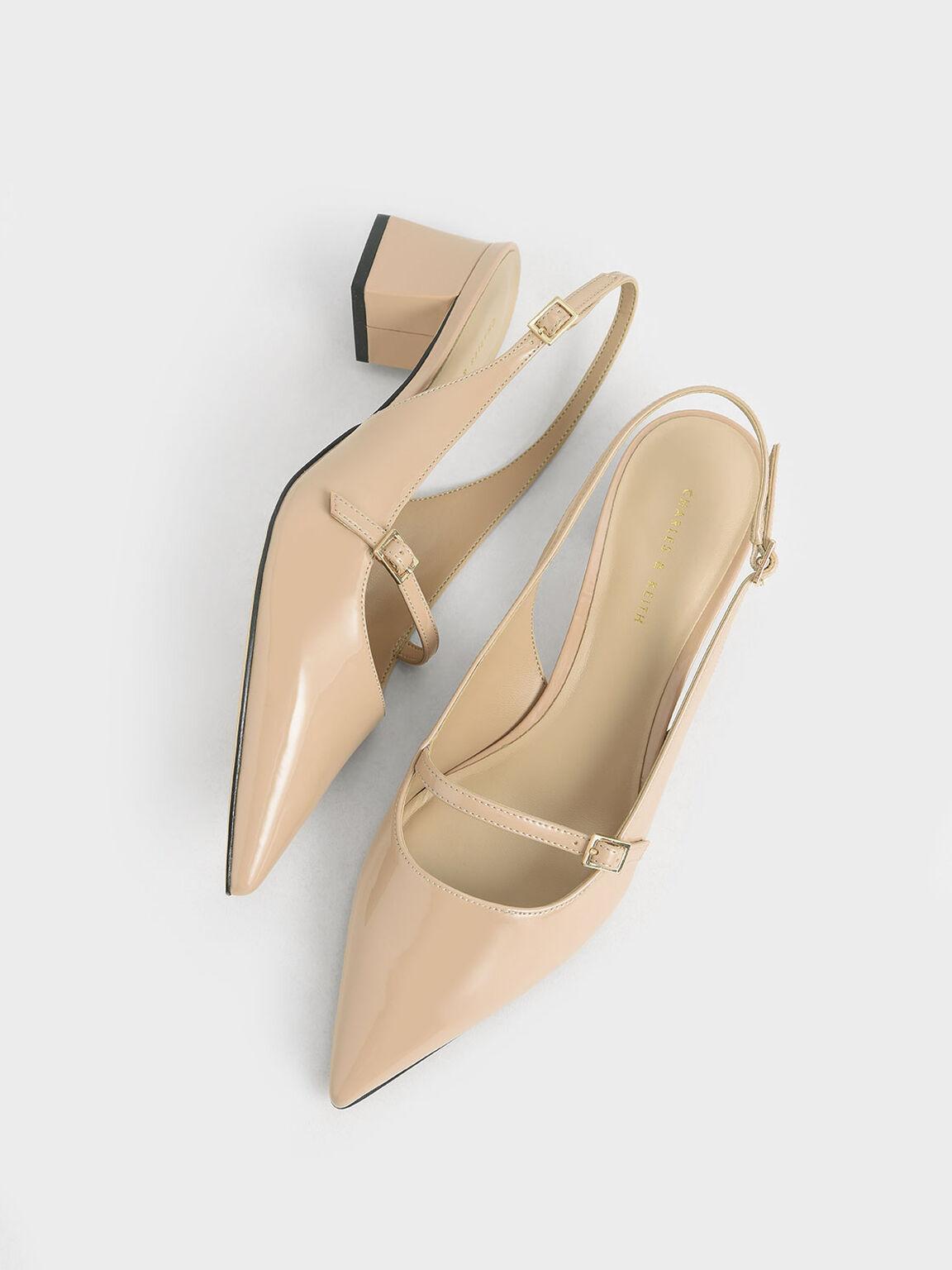 尖頭粗跟鞋, 膚色, hi-res