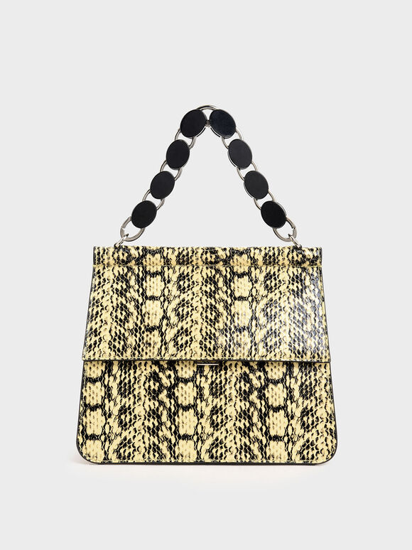 Snake Print Acrylic Tortoiseshell Top Handle Bag, Yellow, hi-res