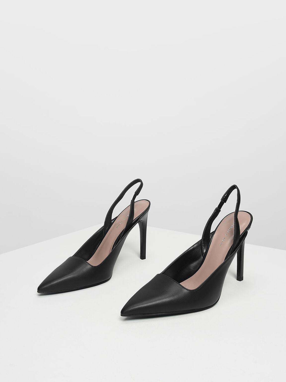 Pointed Toe Slingback Heels, Black, hi-res
