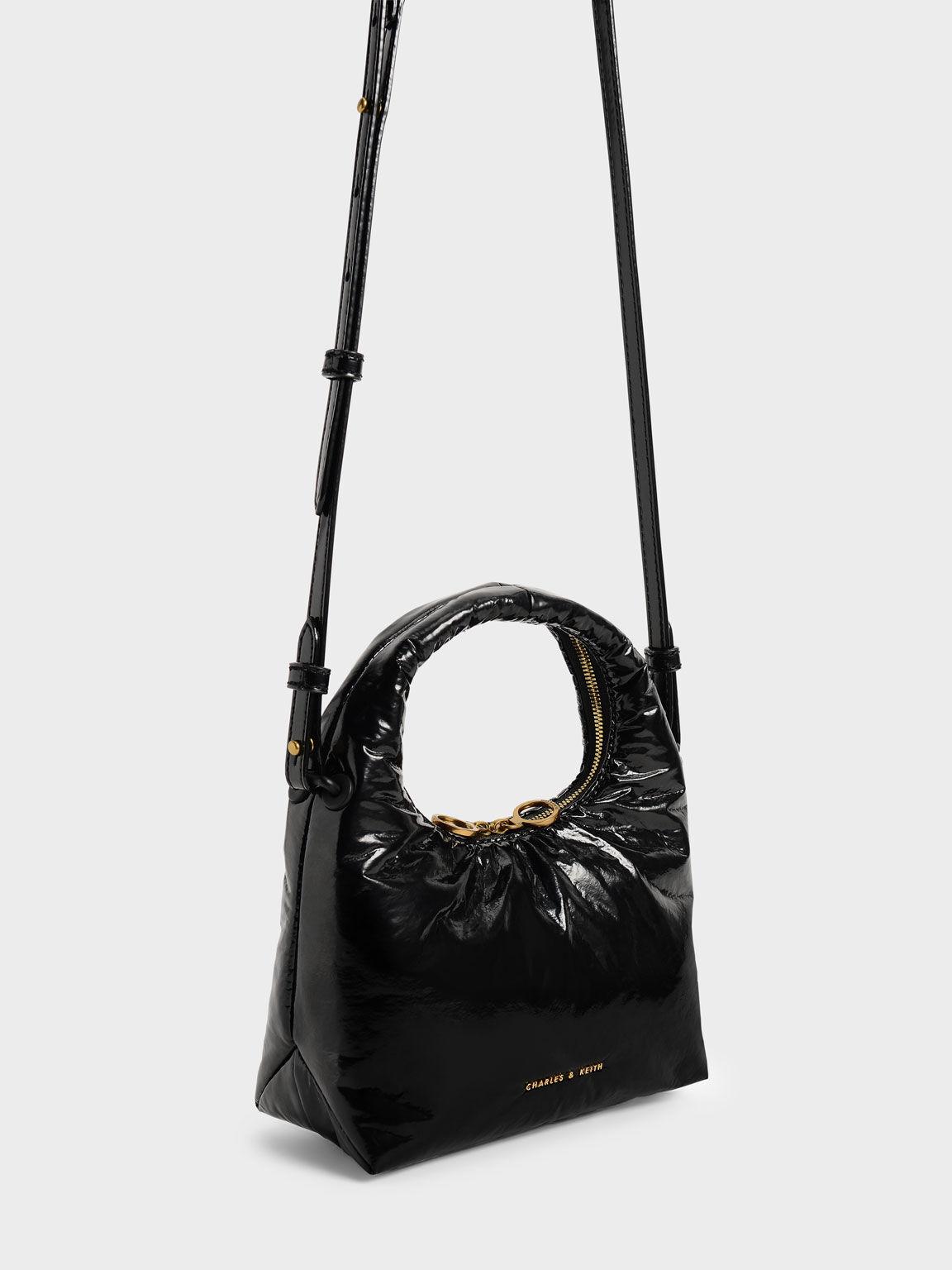 Wrinkled-Effect Puffy Bag, Black, hi-res
