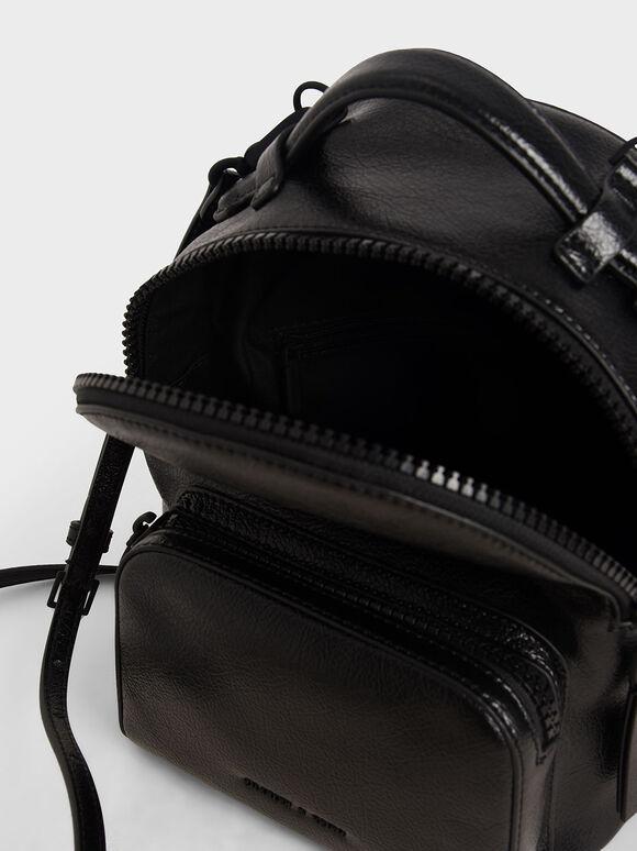 Double Zip Backpack, Black, hi-res