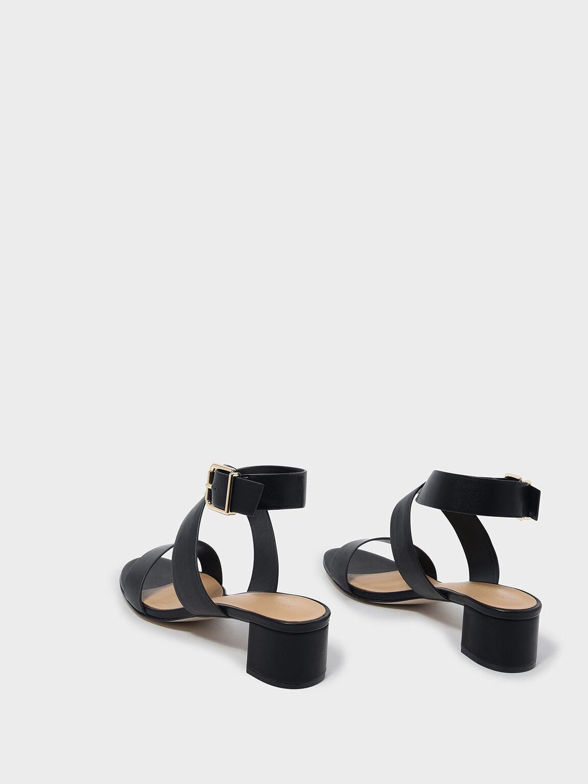 Criss Cross Thick Strap Heeled Sandals, Black, hi-res