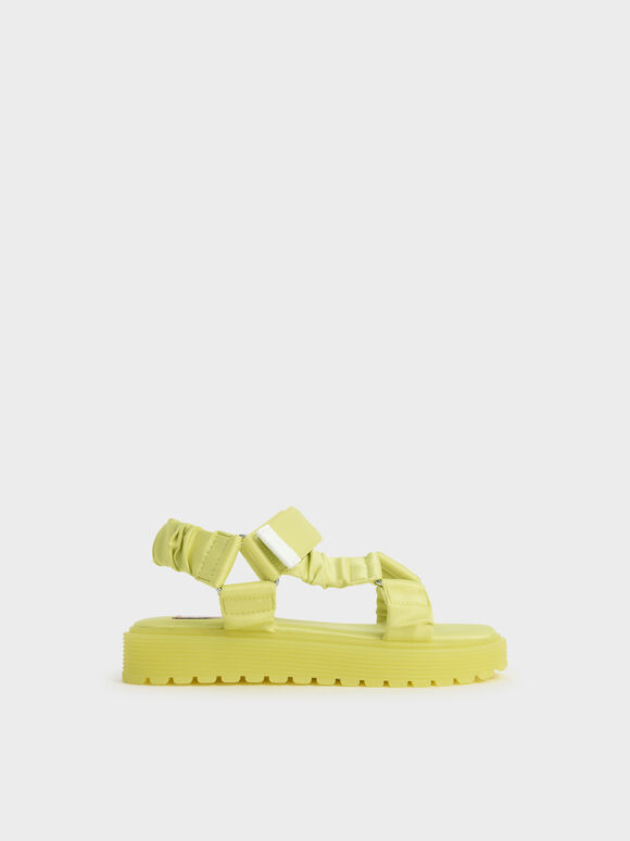 兒童緞面厚底涼鞋, 黃色, hi-res