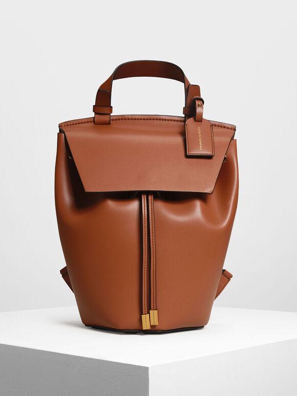 Classic Drawstring Backpack, Cognac, hi-res
