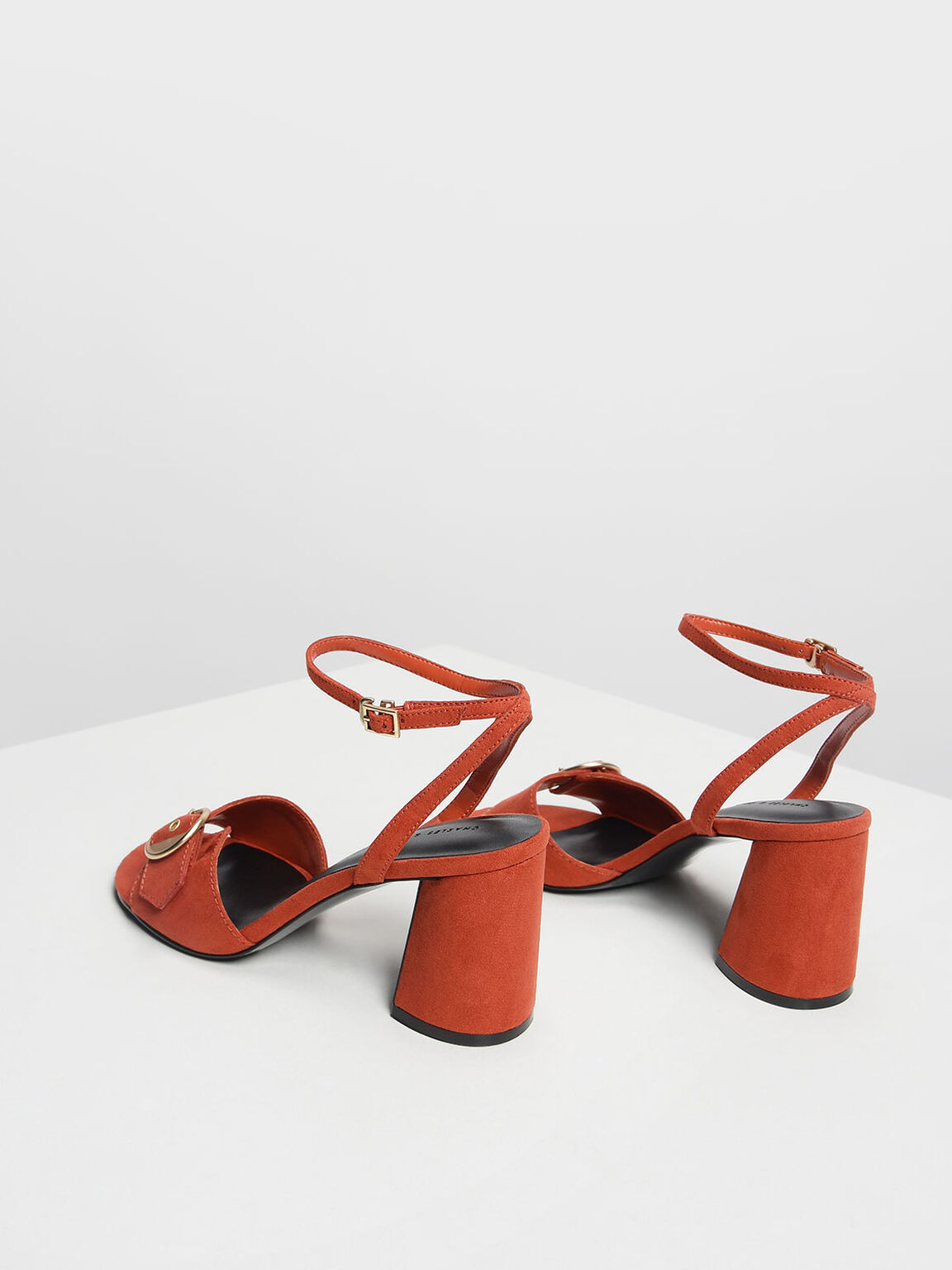 圓扣粗跟涼鞋, 橘色, hi-res