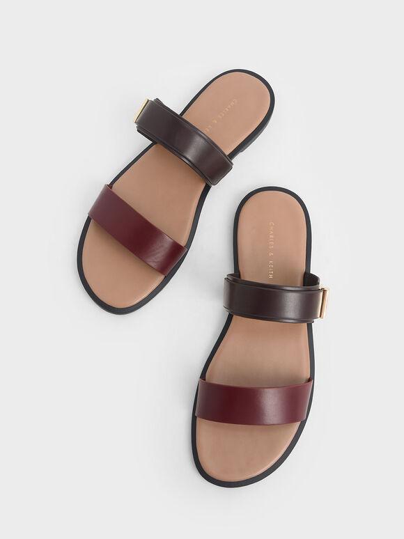 金屬扣拖鞋, 酒紅色, hi-res