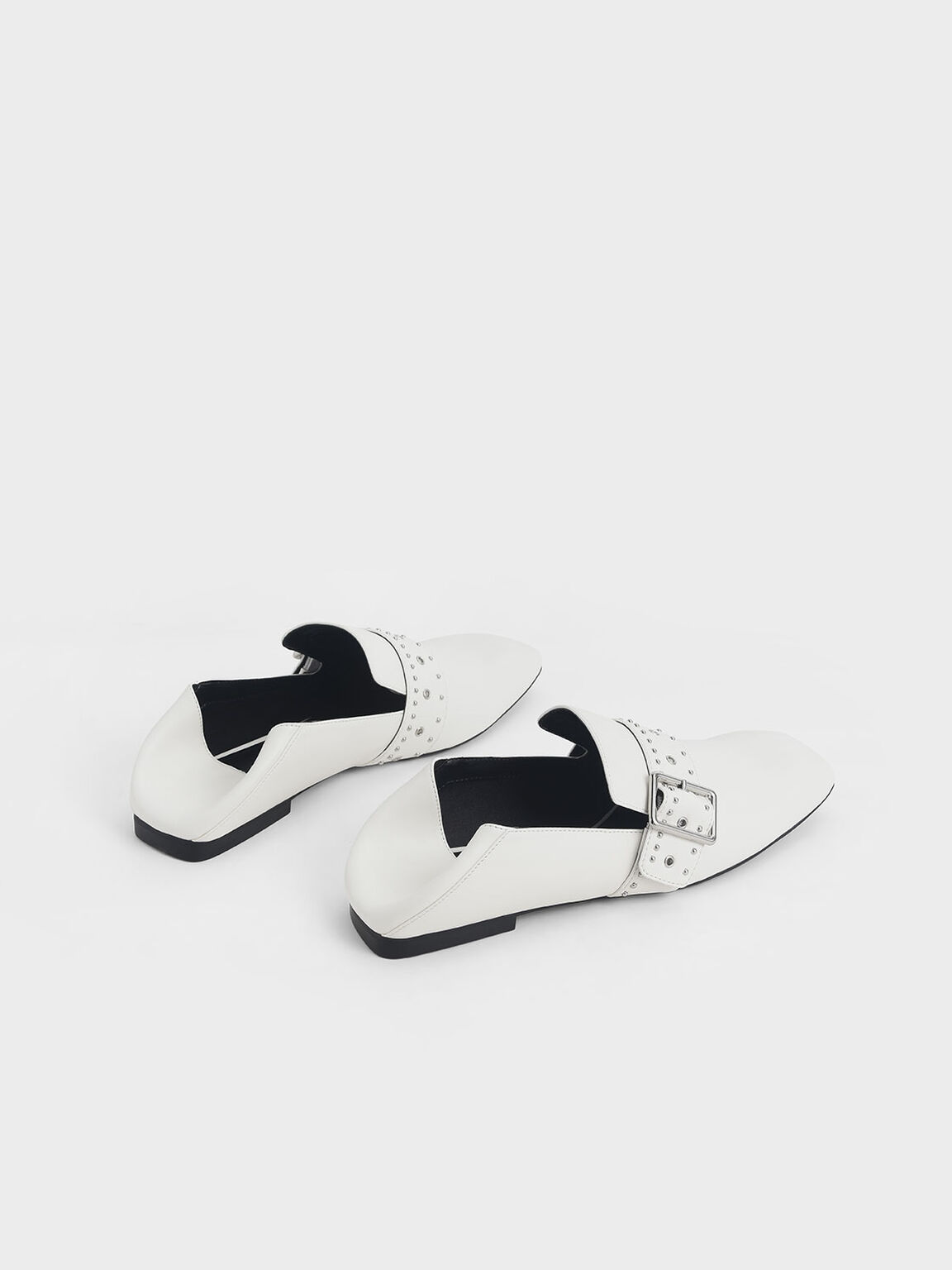 Grommet Buckle Step-Back Loafers, White, hi-res