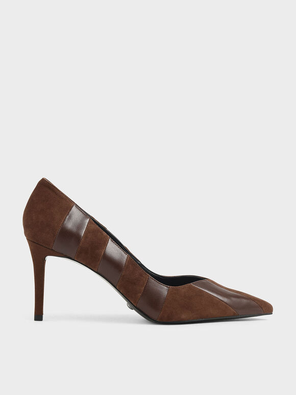 Leather Pointed Toe Pumps (Kid Suede), Cognac, hi-res