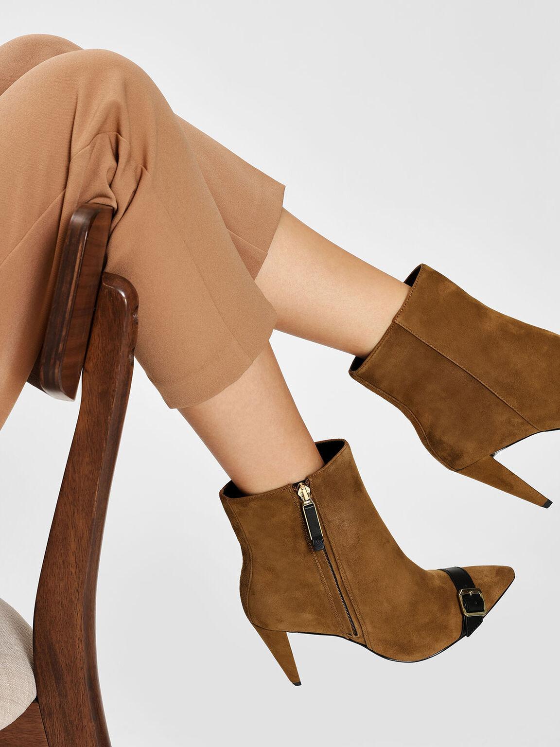Leather Strap Detail Suede Boots, Cognac, hi-res