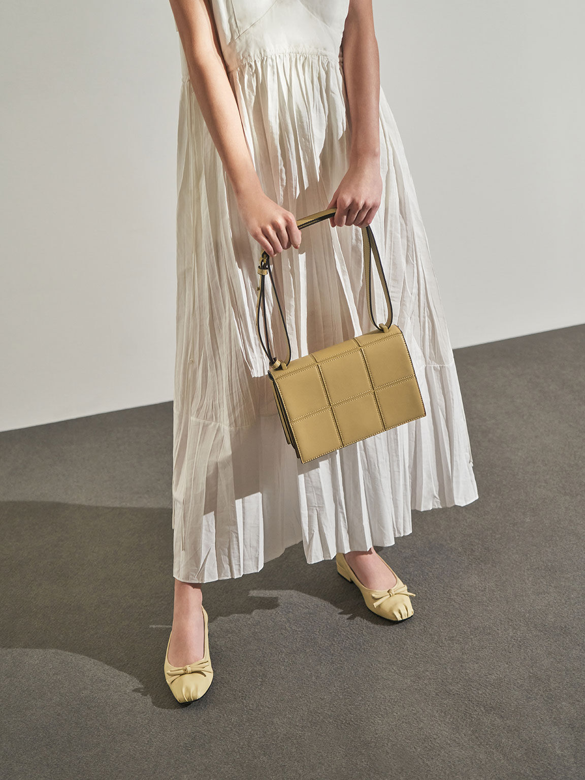 Textured Panelled Shoulder Bag, Yellow, hi-res