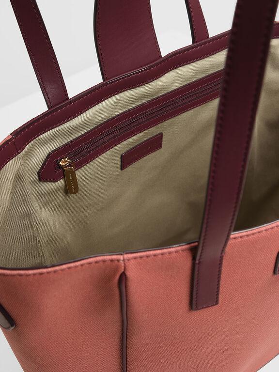 Canvas Trapeze Tote Bag, Burgundy, hi-res