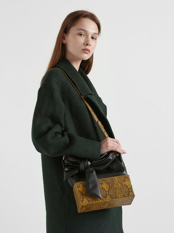 Snake Print Knotted Shoulder Bag, Yellow, hi-res