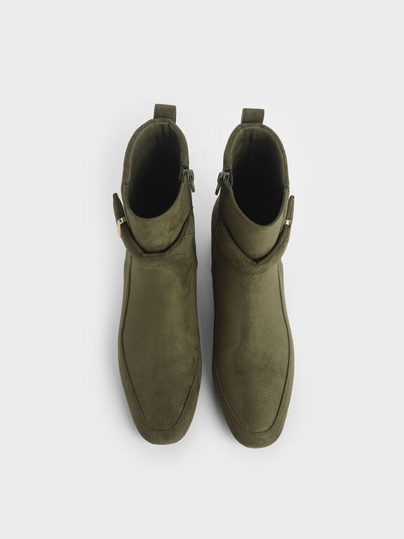 Textured Zip-Up Chunky Heel Ankle Boots, Olive