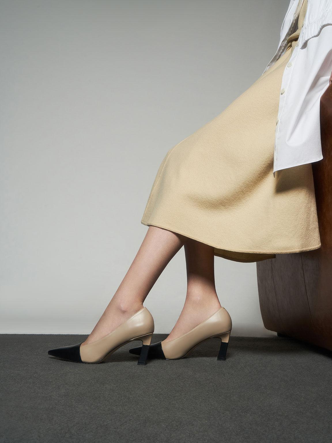 拼色尖頭高跟鞋, 米黃色, hi-res