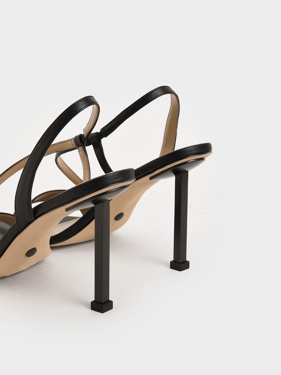 Leather Asymmetric Strap Slingback Sandals, Black, hi-res