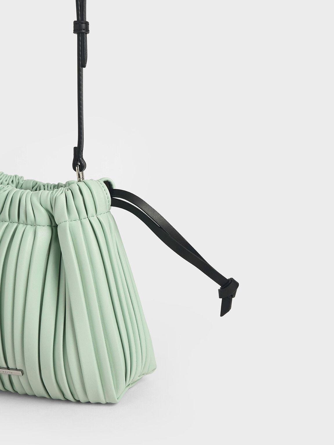 百褶抽繩斜背包, 薄荷綠, hi-res