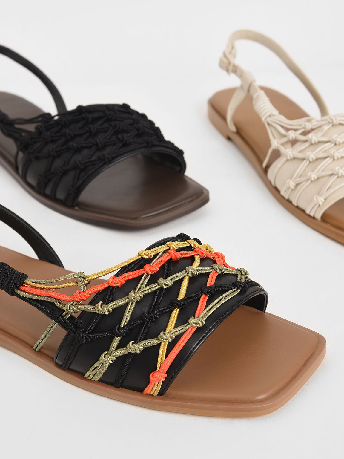 Knotted Rope Slingback Sandals, Multi, hi-res