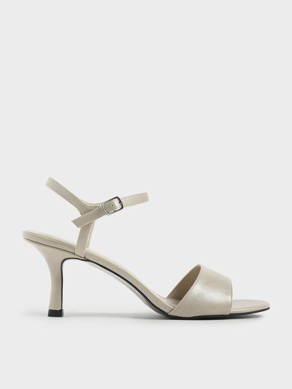 Sculptural Heel Open Toe Sandals, Cream, hi-res