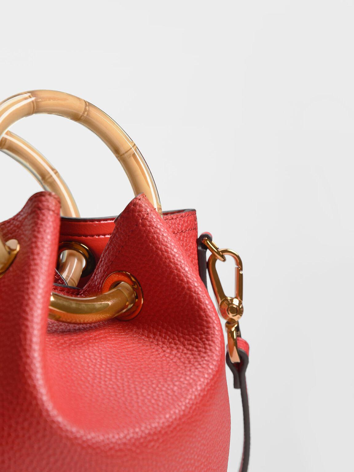 Petal Fold Bucket Bag, Red, hi-res