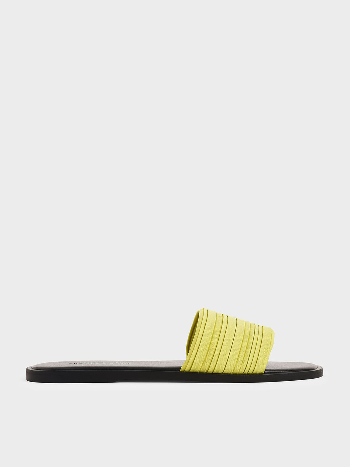 Pleated Slide Sandals, Yellow, hi-res