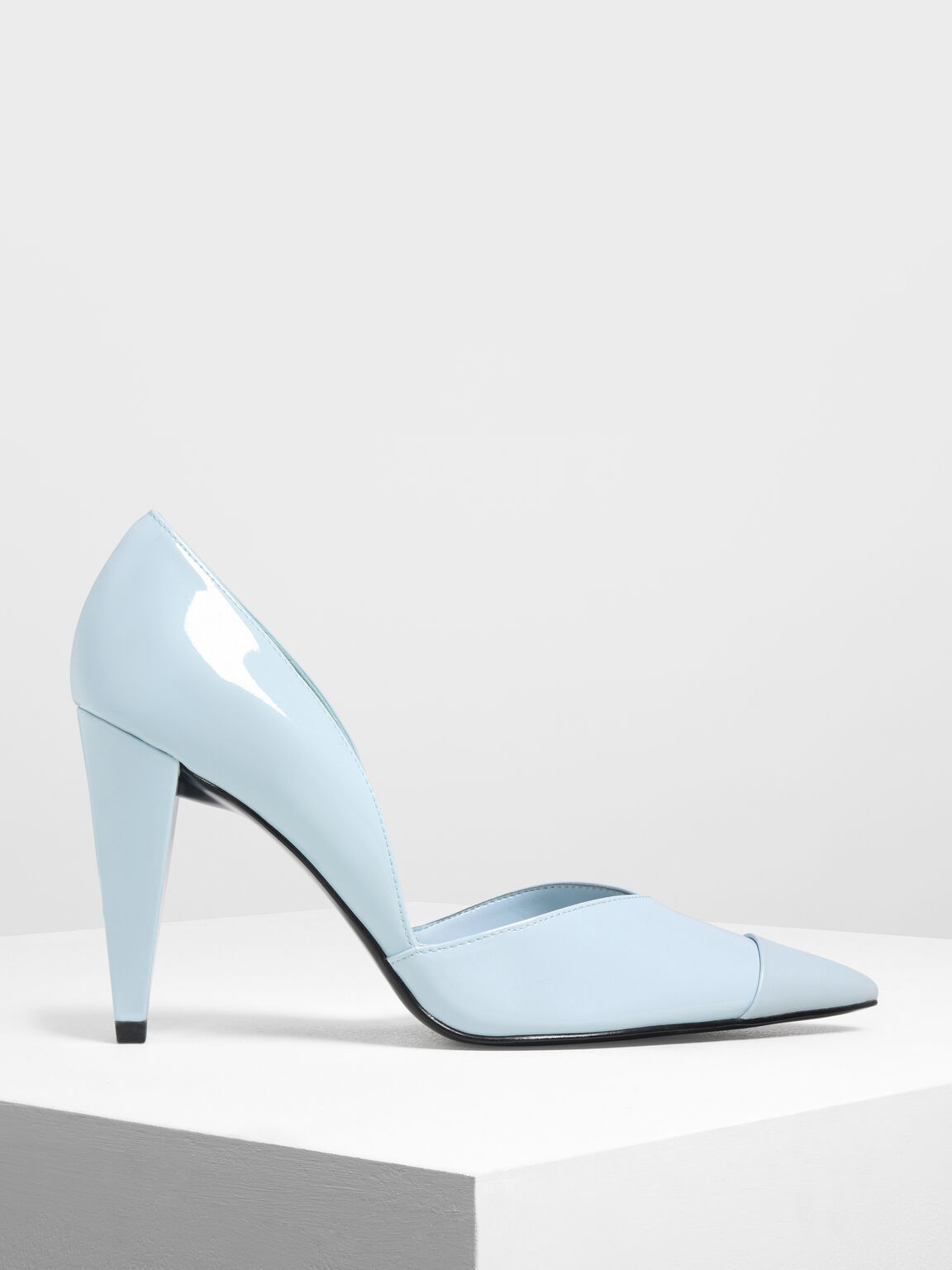 Pointed Toe D'Orsay Pumps, Light Blue, hi-res