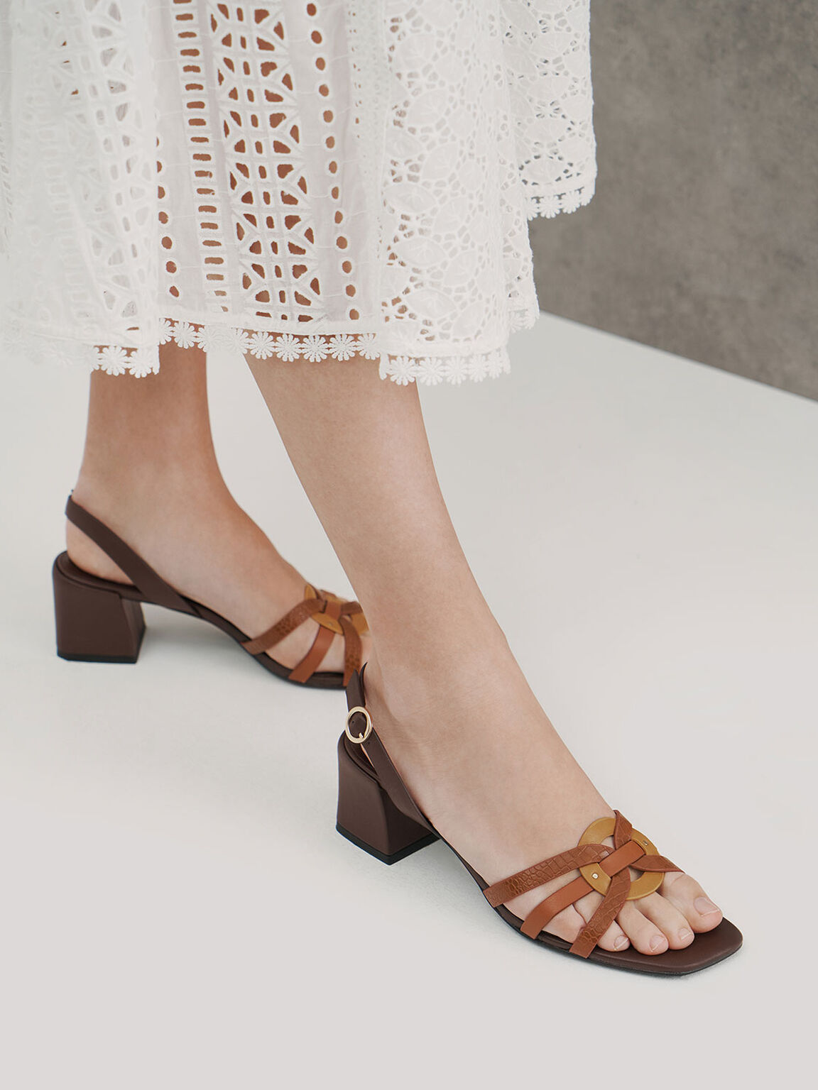 Snake Print Block Heel Sandals, Animal Print Brown, hi-res