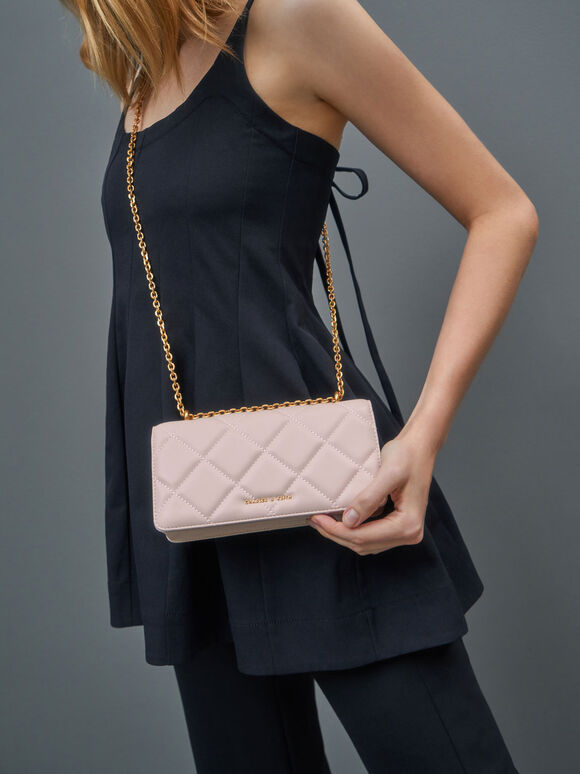 Chain Handle Quilted Long Wallet, Light Pink, hi-res