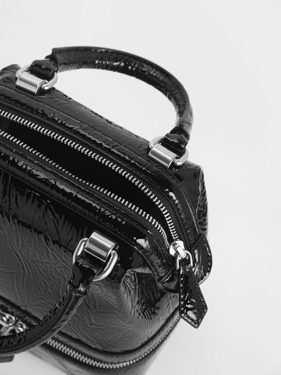 Wrinkled Patent Two-Way Zip Boxy Bag, Black, hi-res