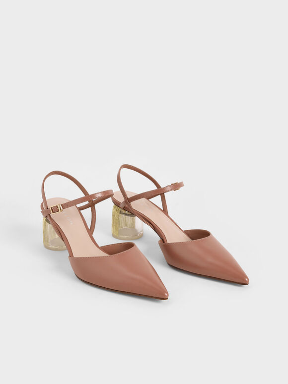 Sculptural Heel Ankle Strap Pumps, Tan, hi-res