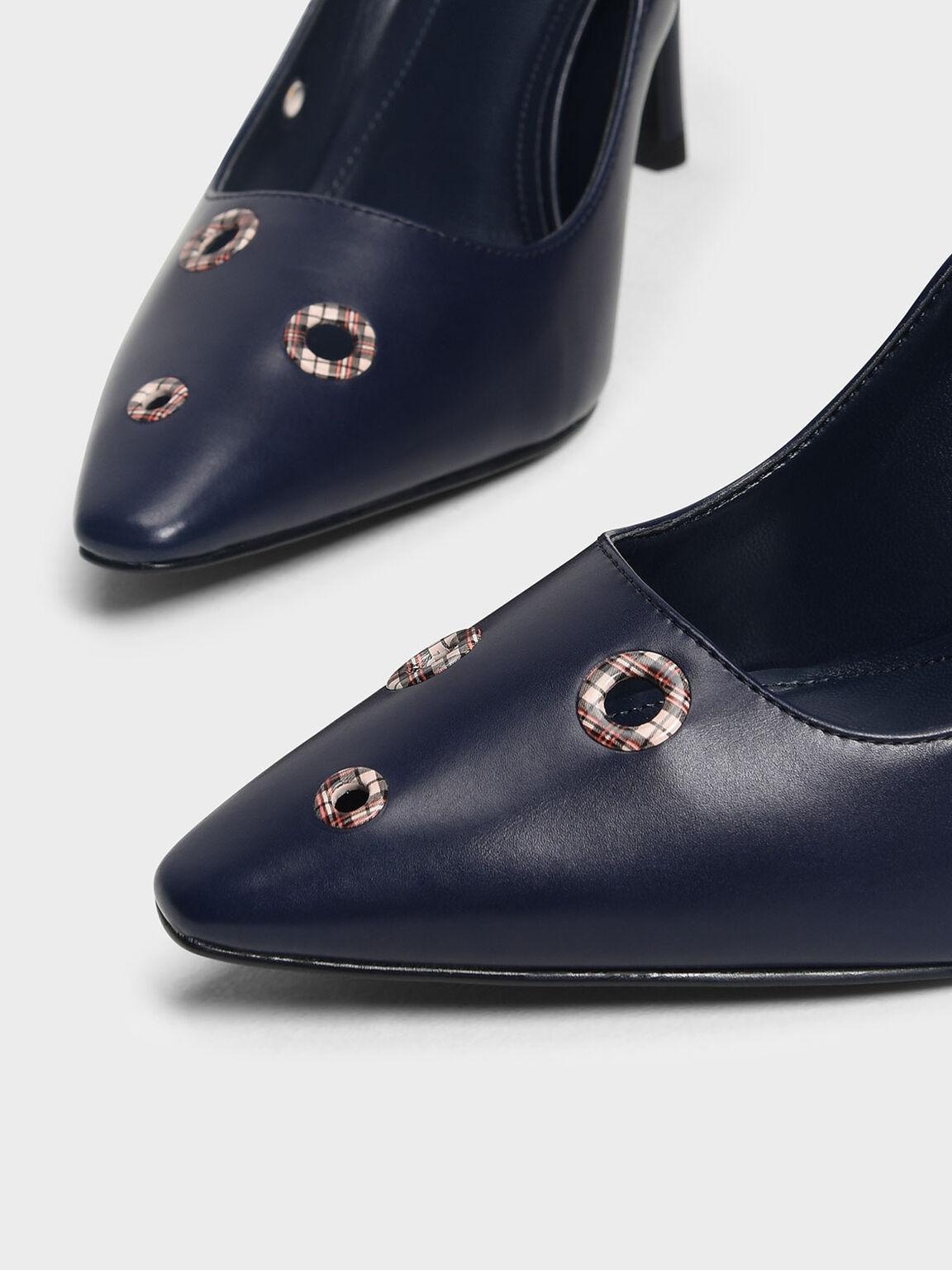 Eyelet Detail Heels, Dark Blue, hi-res